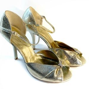 Charlotte Russe Gold strappy peep toe heel size 9